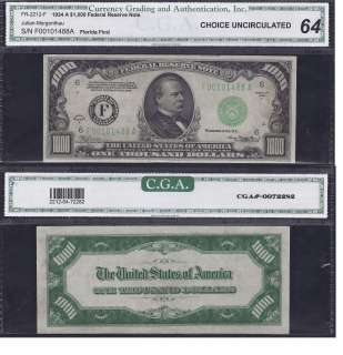 THOUSAND DOLLAR BILL FEDERAL RESERVE NOTE FRN CGA GRADED MONEY