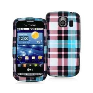 LG VORTEX VS660 2D BLUE / GREEN / RED PLAID CASE Cell