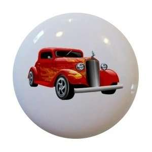 Hot Rod Car Red with Yellow Flames Cabinet Drawer Pull