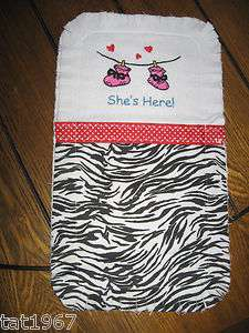 SHES HERE~HANDCRAFTED BABY BURP CLOTH ~RAGGY STYLE