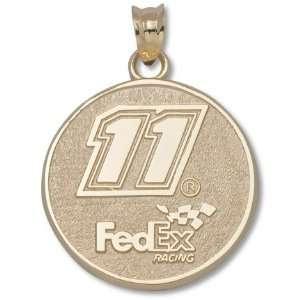 Denny Hamlin 3/4 Round #11 Fed Ex Logo Pendant   10KT Gold Jewelry