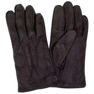Mens Solid Genuine Leather Black Dress Gloves Large New