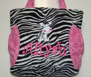 Zebra Quilted Diaper Bag Tote Girl Pink Purple Green LG