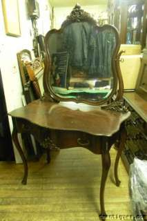 Oak Vanity w/Mirror Queen Anne Serpentine Geo. Flint New York