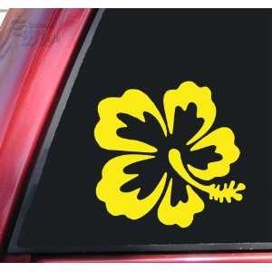 Hibiscus Hawaiian Flower Yellow Vinyl Decal Sticker Automotive