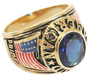 Mens Proud American Dark Blue 18kt Gold Plated Ring