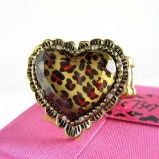 NWT Betsey Johnson Heart Leopard Elasticity Ring 260