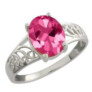 2.30 Ct Oval Pink Mystic Topaz Sterling Silver Ring