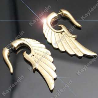 Wing False Ear Plug Stud Tribal Earrings Goth Punk Rock Biker