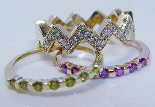14K Gold .55ct Diamond Three Rings Bands Set Estate Jewelry Investment