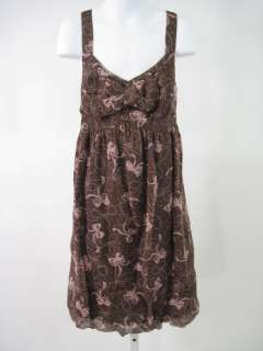 PIROUETTE Girls Brown Pink Silk Bowtie Print Dress 12P