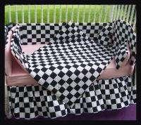 New crib bedding set w/ CHECKERED FLAG fabric w/ PINK