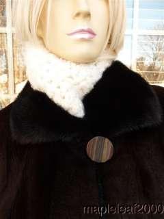 NATURAL BROWN RANCH SHEARED MINK FUR STROLLER COAT (Sz. 10) *MINT