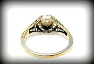 1920s Art Deco MINE CUT 14k White Gold FILIGREE DIAMOND RING