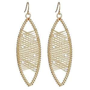 Kenneth Jay Lane   Golden Crystal Oval Wire Wrap Earrings Jewelry
