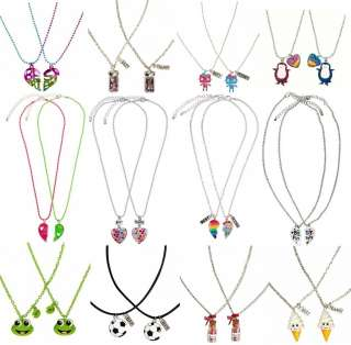 NWT Justice Girls BFF Best Friends 2pc Necklace Set Heart/Soccer/Frog