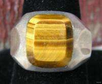 Vintage Signed Mexico Mens Jewelry Sterling Silver Ring w Tigers Eye