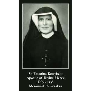 Saint Faustina Holy Prayer Card Apostle of Divine Mercy