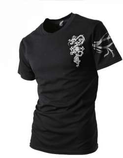 Mens COMPRESSION Shirts Tight TATTOO T shirt Black
