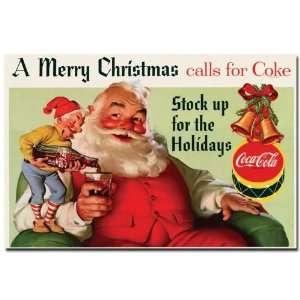Coke Santa Merry Christmas w/ Elves   16 x 24 Inches