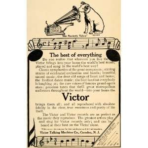 1907 Ad Nipper Dog Victor Phonographs Talking Machine