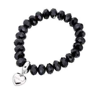 Fiorelli Black Crystal Heart Charm Bracelet Fiorelli Jewelry