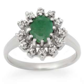Certified 1.46ctw Emerald & Diamond Ring White Gold