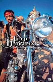 Jimi Hendrix Guitar Legend on a Harley Panhead Poster