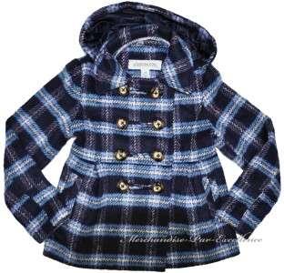 Girls LONDON FOG Blue PLAID Winter Jacket PEA Dress Coat HOODED