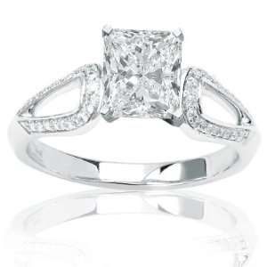 Pave Set Round Diamonds Engagement Ring with a 0.61 Carat Cushion Cut