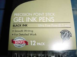 12 Foray Gel Pens Precision Point Stick Extra Fine Point 0.3 mm Clear