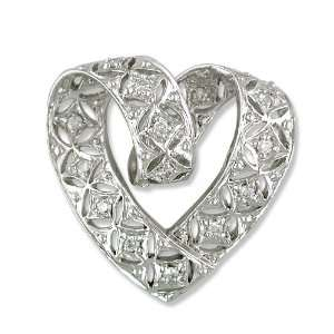 14k White Gold Diamond Slide Pendant with 20in. chain