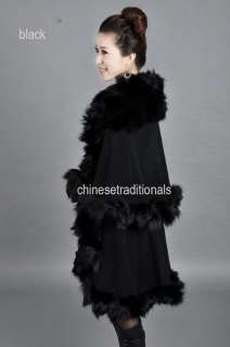 Long real fox fur rimmed shawl freeSH (special price),HOT