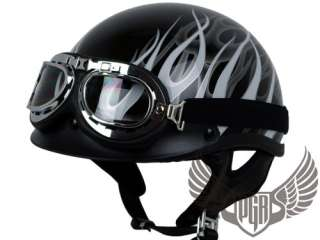 Black Red PGR Motorcycle DOT Helmet w Goggle Harley M