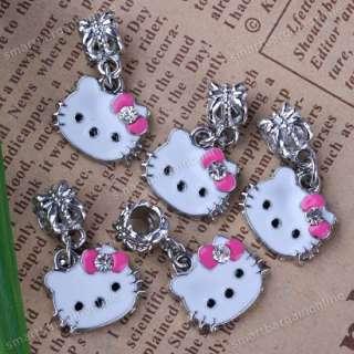 5x Hellokitty Cat Enamel European F.Charm Bracelet Bead