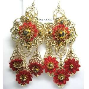 Pakistan   India Bridal Jewelry Inspired Red and Gold Flower Fashion