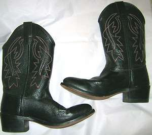 Old West Black leather red white stitched western cowboy boot size 6
