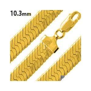 14K Gold Plated Silver 20 Herringbone Chain Necklace 10.3mm Jewelry