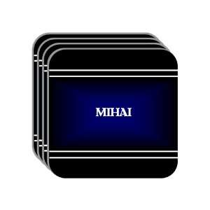 Personal Name Gift   MIHAI Set of 4 Mini Mousepad Coasters (black