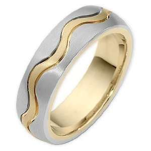 Two Tone 18 Karat Gold Wave Style Comfort Fit Wedding Band Ring   6