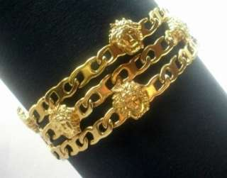GIANNI VERSACE MEDUSA HEAD BLING GOLD PLATE VINTAGE BRACELET FROM 1996