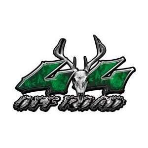 Deer Skull Wicked Series 4x4 Off Road Inferno Green Decals