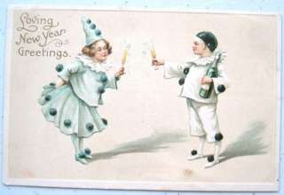 CHILDREN Clowns Pierrot Champagne Bottle New Year EMB