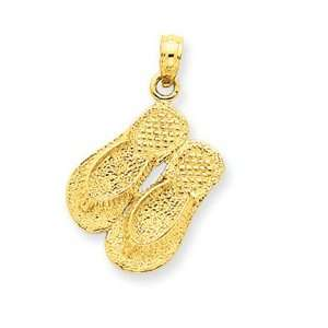 14k Yellow Gold Large Double Flip Flop Pendant Jewelry