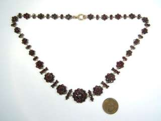 ANTIQUE GOLD BOHEMIAN GARNET GRADUATING NECKLACE c1860