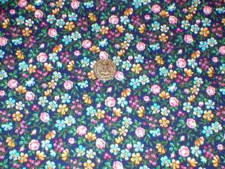 FLORAL~PINK ROSES~YELLOW~TURQUOISE~VOLIET~ON NAVY BLUE~COTTON FABRIC
