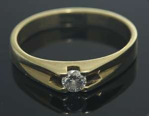 Womans 14K Yellow Gold Perfect Solitaire Natural Diamond Ring H SI2 0
