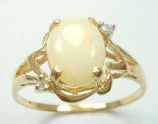 10KT YELLOW GOLD NATURAL OPAL & DIAMOND RING #7