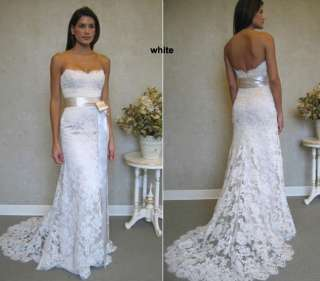 New White Ivory Strapless Lace Wedding Dress Bridal Gown Stock Size 6