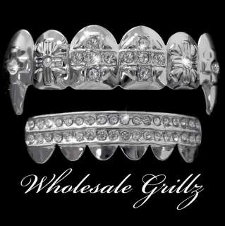 SILVER STYLE ICED OUT FANG DRACULA VAMPIRE TEETH GRILLZ SET